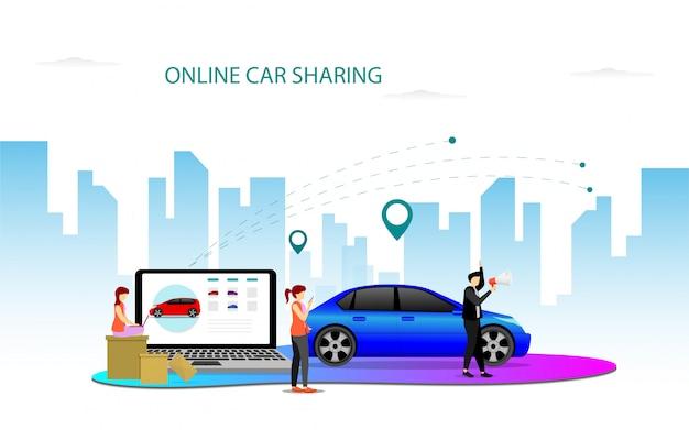 Modèle de page de destination partage de voiture en ligne