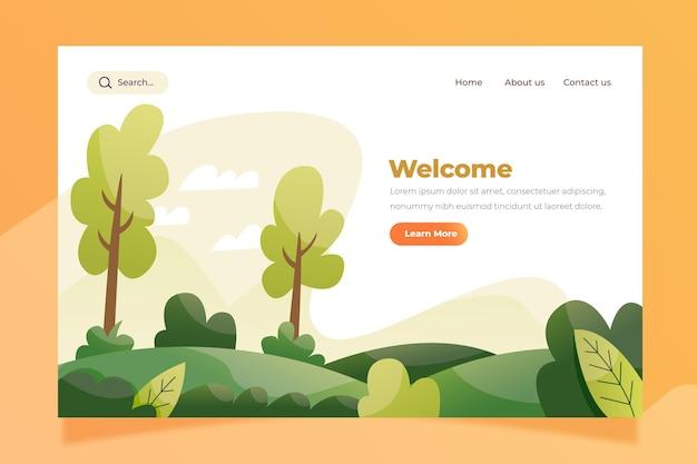 Modèle de page de destination de paysage nature