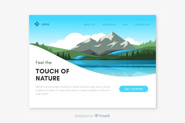 Modèle de page de destination paysage naturel