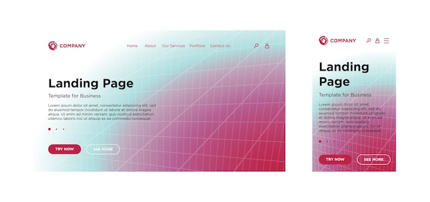 Modèle de page de destination pc de bureau et version adaptative mobile effet de décoloration géométrique minimal