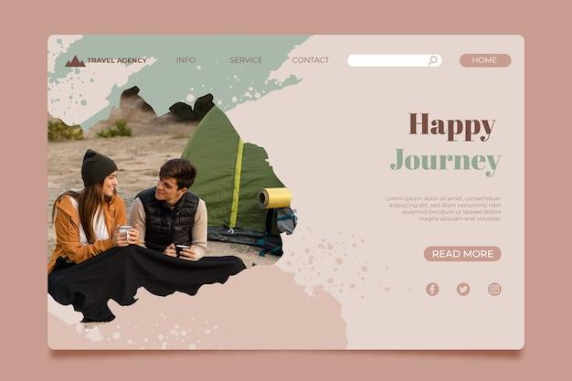 Modèle de page de destination peint à la main avec photo