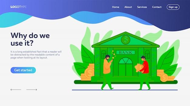 Modèle de page de destination de personnes près de la banque