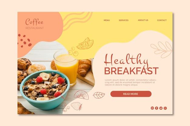 Modèle de page de destination de petit-déjeuner sain
