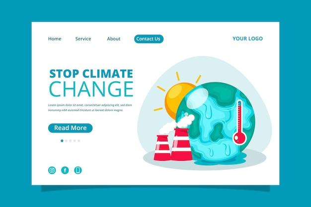 Modèle de page de destination à plat sur le changement climatique