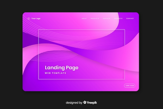 Modèle de page de destination plate abstraite