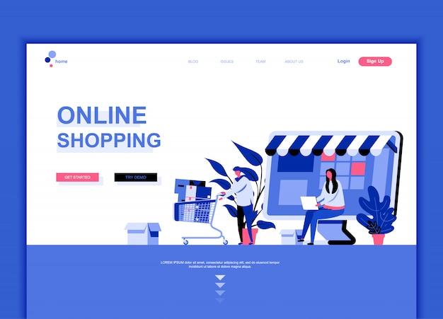 Modèle de page de destination plate d'achats en ligne