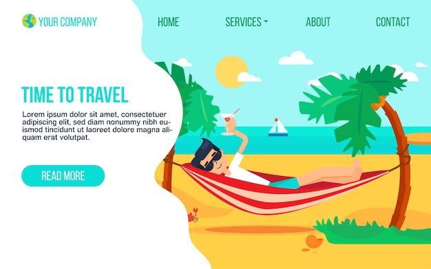Modèle de page de destination plate d'agence de tourisme. voyage de vacances sur l'île paradisiaque. page d'accueil de la station exotique