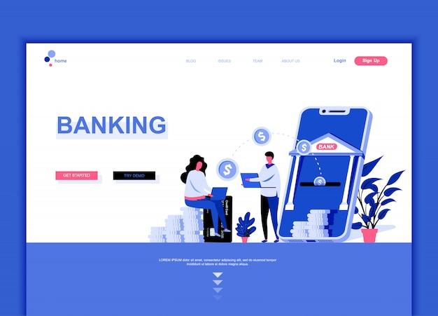 Modèle de page de destination plate de la banque en ligne