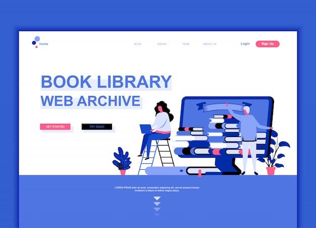 Modèle de page de destination plate de la bibliothèque de livres