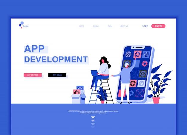 Modèle de page de destination plate du développement d'applications