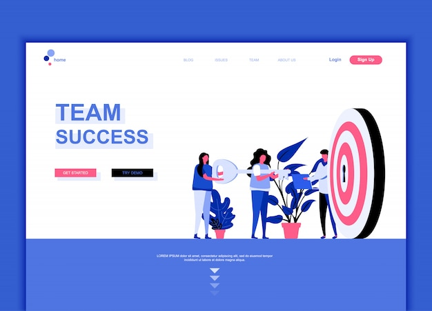 Modèle de page de destination plate du succès de l'équipe