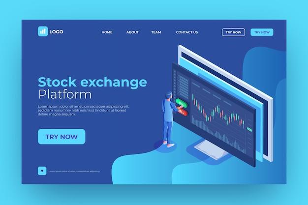 Modèle de page de destination de la plate-forme boursière