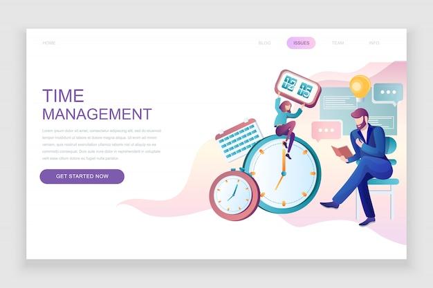 Modèle de page de destination plate de la gestion du temps