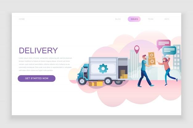 Modèle de page de destination plate de livraison dans le monde entier