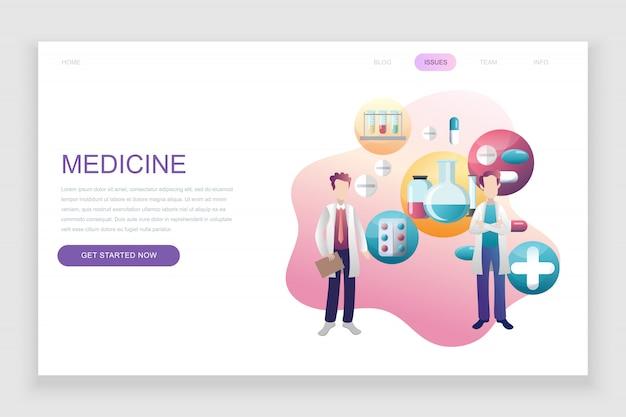 Modèle de page de destination plate de médecine et de soins de santé