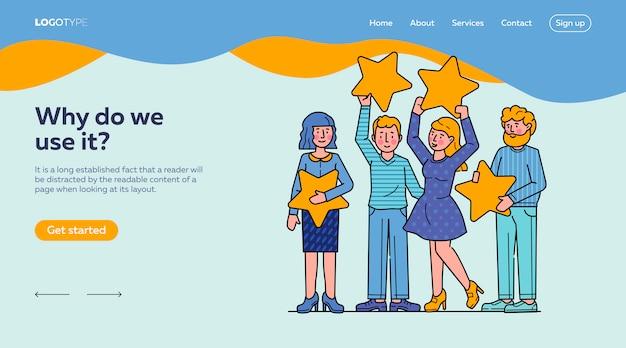 Modèle de page de destination plate pour l'évaluation des avis des clients