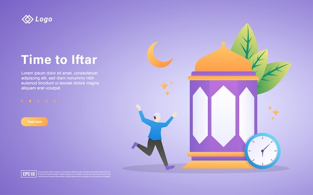 Modèle de page de destination plate pour le ramadan kareem