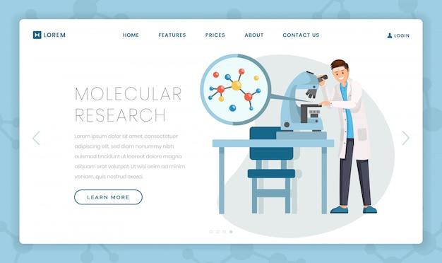 Modèle de page de destination plate pour la recherche moléculaire