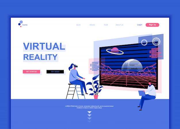 Modèle de page de destination plate de la réalité virtuelle