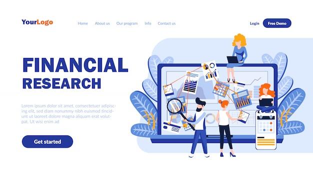 Modèle de page de destination plate de recherche financière avec en-tête