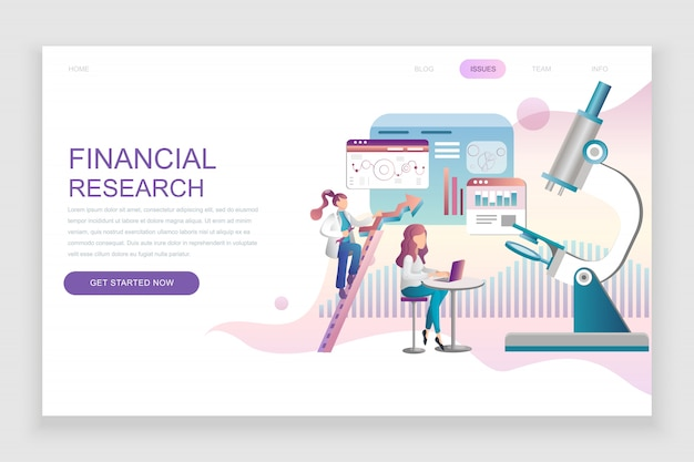 Modèle de page de destination plate de la recherche financière