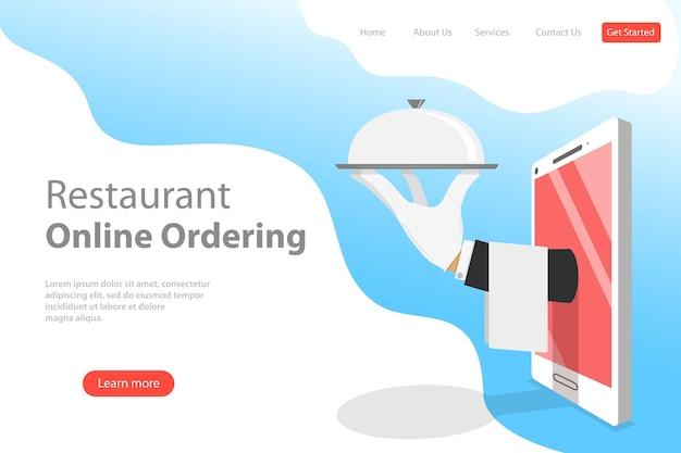 Modèle de page de destination plate de réservation en ligne de table, réservation mobile, commande et livraison de nourriture.