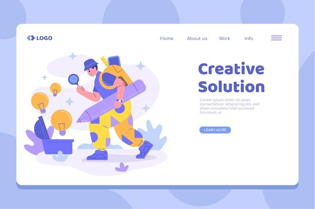 Modèle de page de destination plate de solutions créatives
