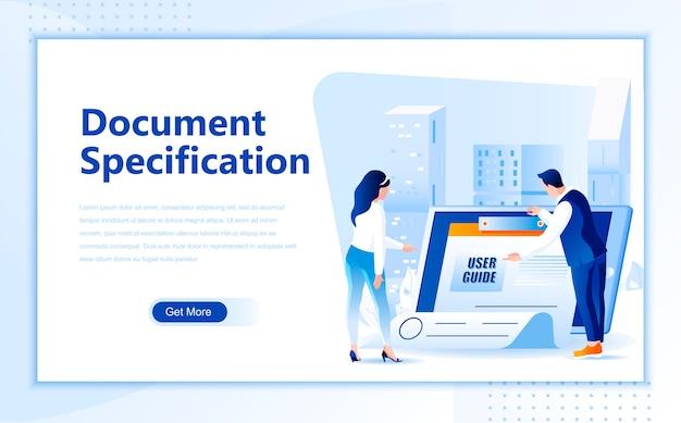 Modèle de page de destination plate de spécification de document de la page d'accueil