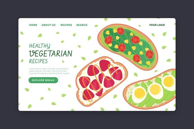 Modèle de page de destination de plats végétariens plats dessinés à la main