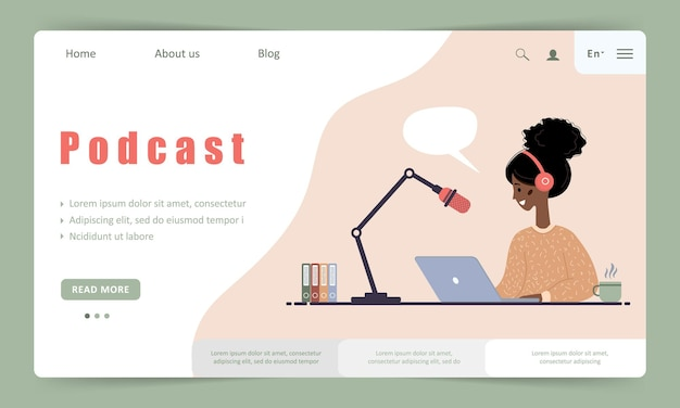 Modèle de page de destination de podcast. entretien avec l'animateur de radio. streaming en ligne.