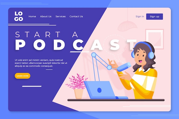 Modèle de page de destination de podcast illustré
