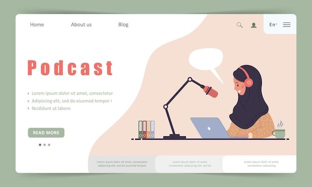 Modèle de page de destination de podcast en streaming en ligne