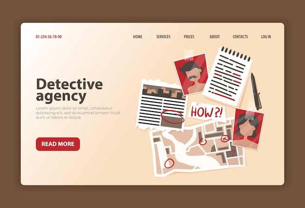 Modèle de page de destination pour agence de détective