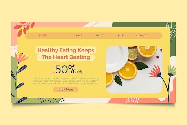 Modèle de page de destination pour les aliments bio et sains