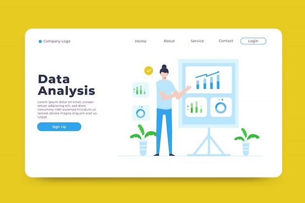 Modèle de page de destination pour l'analyse des données