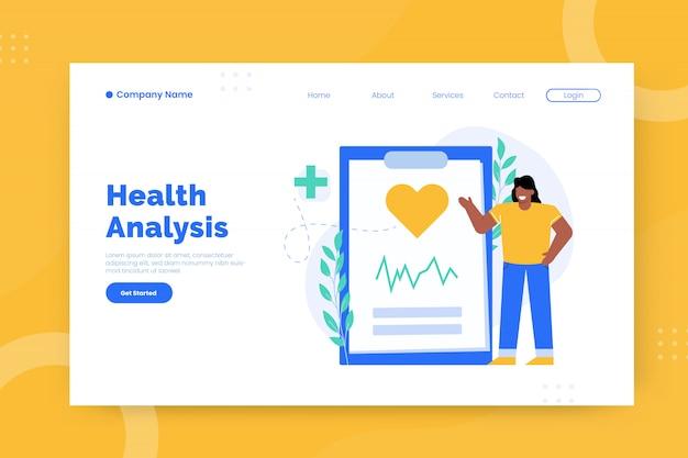 Modèle de page de destination pour l'analyse de la santé