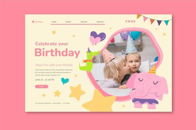 Modèle de page de destination pour l'anniversaire des enfants
