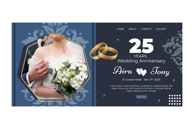 Modèle de page de destination pour l'anniversaire de mariage de 25 ans