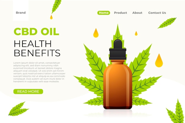 Modèle de page de destination pour les bienfaits de l'huile de cbd pour la santé