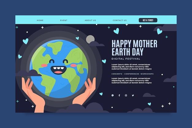 Modèle de page de destination pour la célébration de la journée de la terre mère