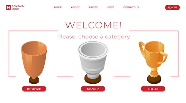 Modèle de page de destination pour les champions. concept de page web de catégorie de première, deuxième et troisième place.