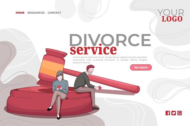 Modèle de page de destination pour le concept de divorce