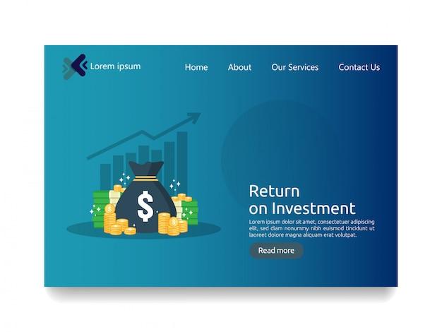 Modèle de page de destination pour le concept d'entreprise d'investissement