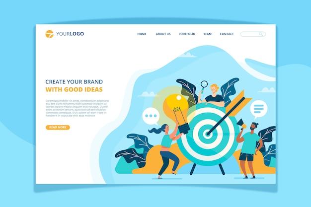 Modèle de page de destination pour le concept de marque