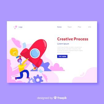 Modèle de page de destination pour le concept de processus créatif