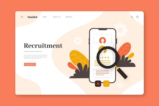 Modèle de page de destination pour le concept de recrutement