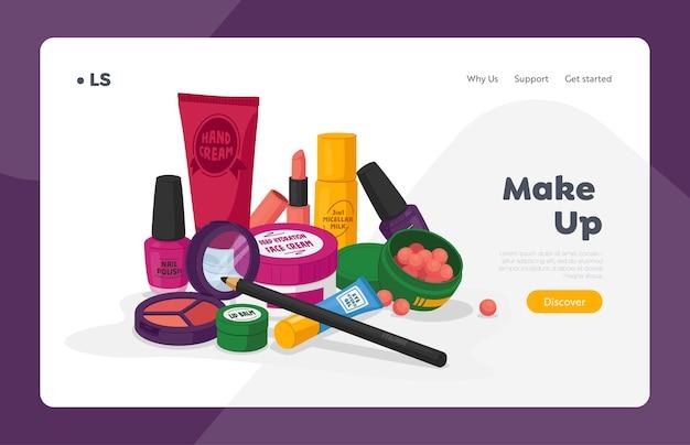Modèle de page de destination pour les cosmétiques féminins