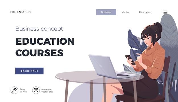 Modèle de page de destination pour les cours en ligne enseignement à distance internet étudier la formation