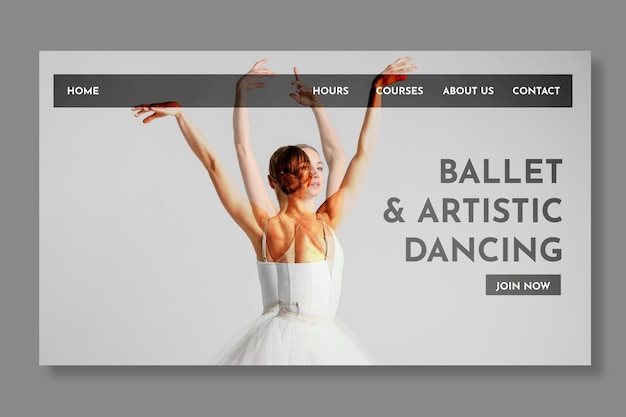 Modèle de page de destination pour danseur de ballet