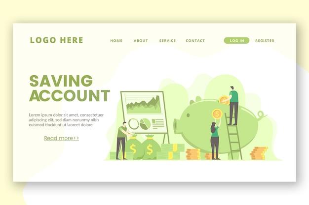 Modèle de page de destination pour économiser de l'argent